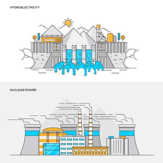 Concept De Couleur De Ligne - Centrale Hyidroélectrique Et Nucléaire Vecteur Premium