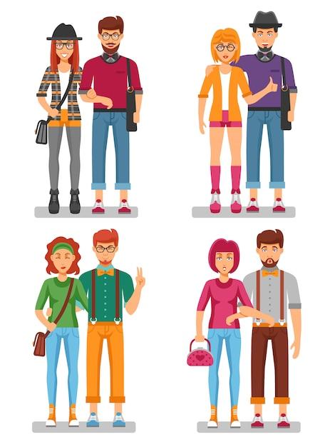 Concept de couples de hipster de jeunes branchés Vecteur gratuit