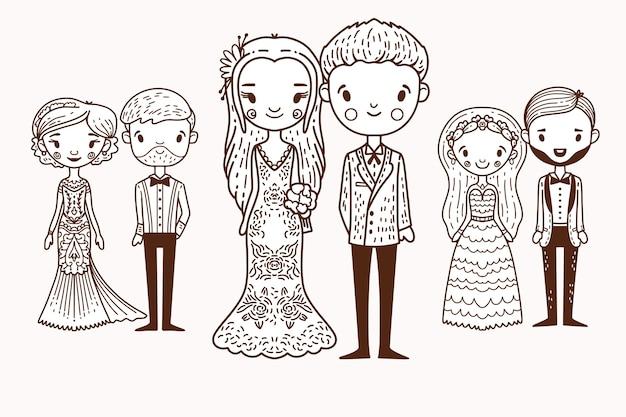 Concept De Couples De Mariage Dessinés à La Main Vecteur gratuit