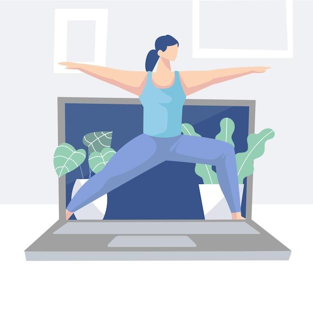 Concept De Cours De Yoga En Ligne Dessinés à La Main Vecteur gratuit
