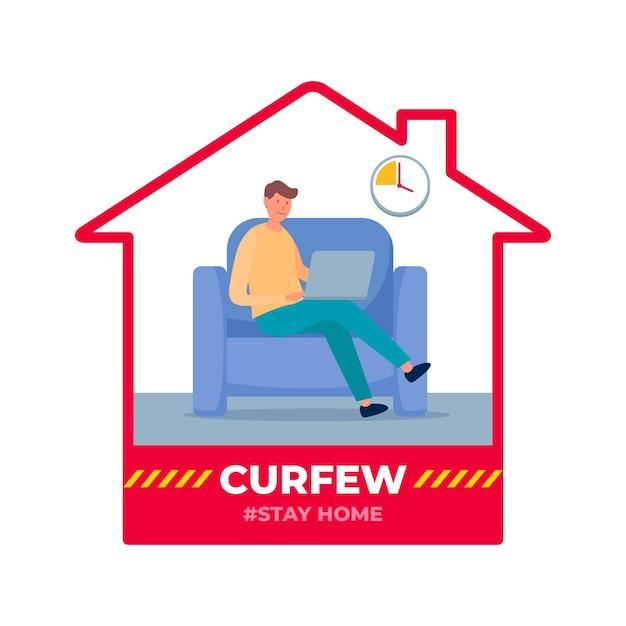 Concept De Couvre-feu De Coronavirus Vecteur gratuit