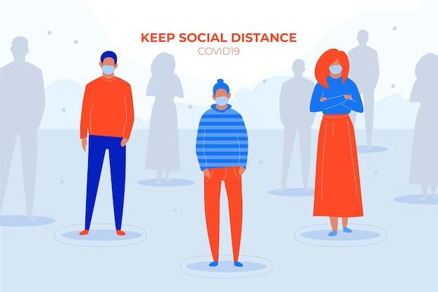 Concept Covid19 De Distanciation Sociale Vecteur gratuit