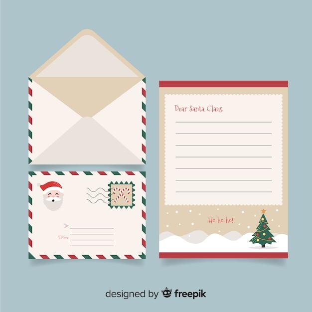 Concept créatif de lettre et enveloppe de noël Vecteur gratuit