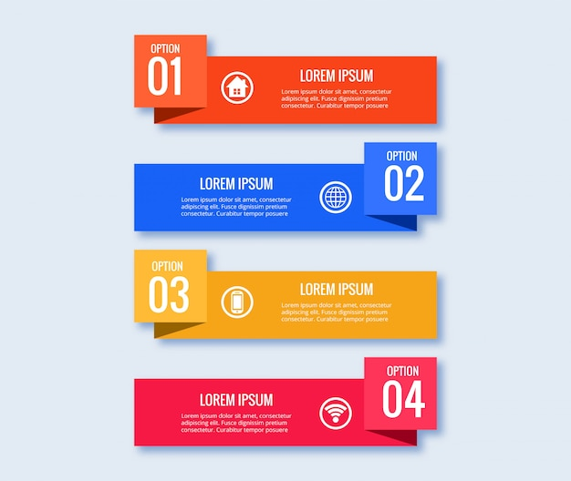 Concept Créatif De Modèle De Conception Infographique Avec 4 étapes Vecteur gratuit