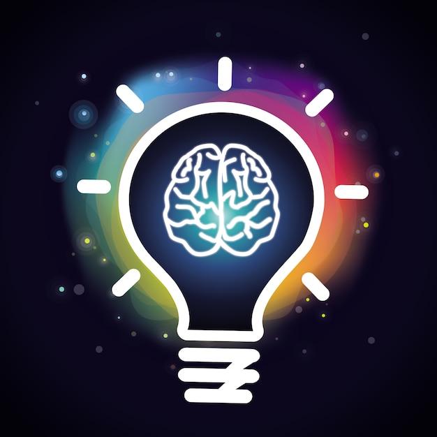 Concept de créativité de vecteur - cerveau et ampoule Vecteur Premium