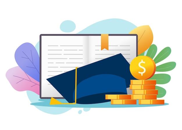 Concept De Crédit De Prêt D'argent Pour L'éducation Ou Coût Des Diplômés De La Bourse, Frais Financiers Des Frais De Scolarité Collégiaux Vecteur Premium