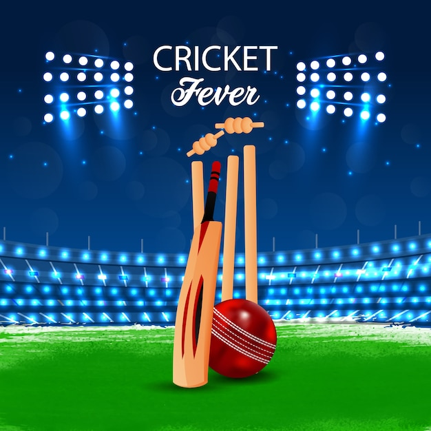 Concept de cricket match avec stade et arrière-plan Vecteur Premium