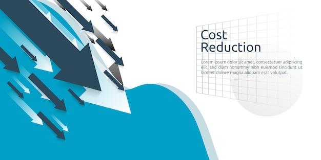 Concept de crise commercial finance. flèche diminuer économie baisse. réduction des coûts. perte de revenu. Vecteur Premium