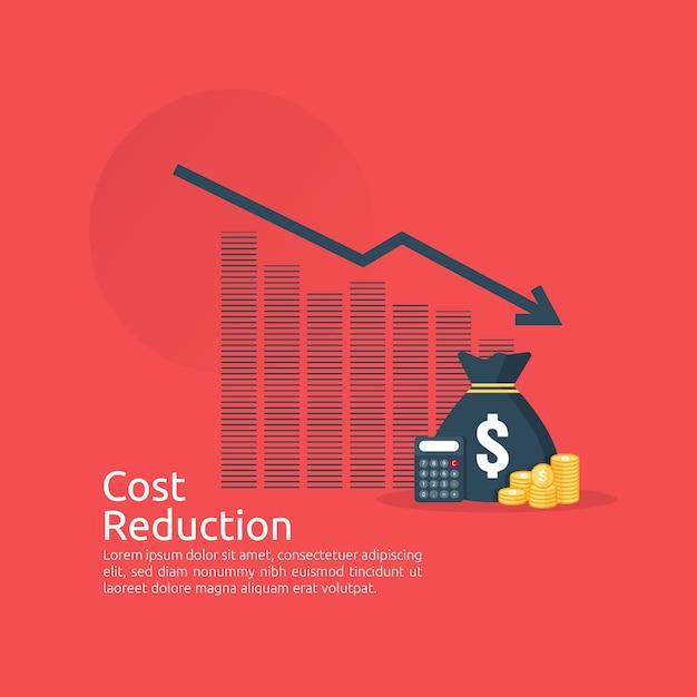 Concept de crise financière. empiler des pièces de monnaie et un sac d'argent. réduction des coûts. perte de revenu. Vecteur Premium