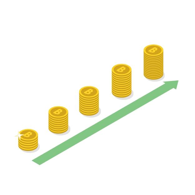 Concept De Croissance Bitcoin Crypto-monnaie. Vecteur Premium