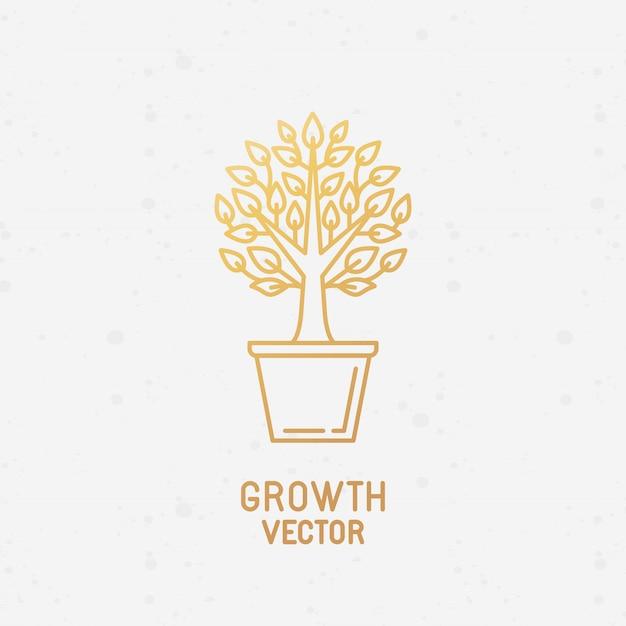 Concept de croissance et élément de conception de logo Vecteur Premium