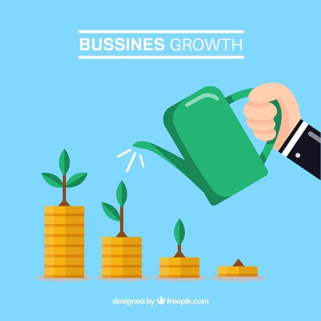 Concept de croissance d'entreprise avec l'homme arrosant les pièces de monnaie Vecteur gratuit