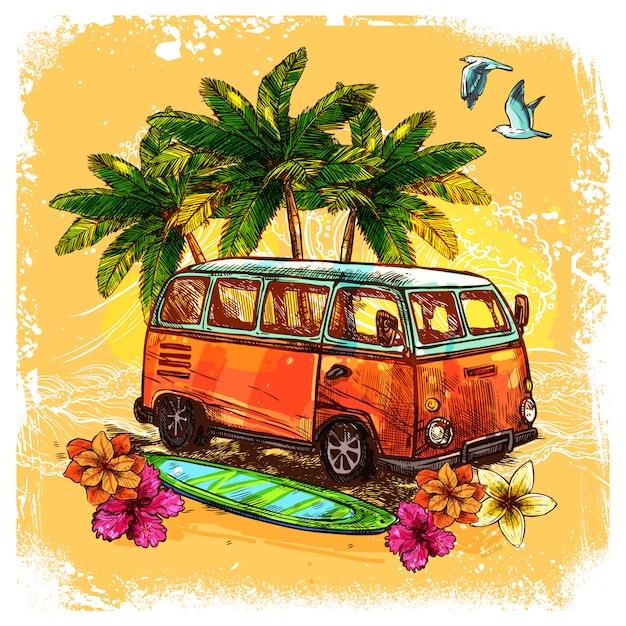Concept de croquis de bus de surf Vecteur gratuit