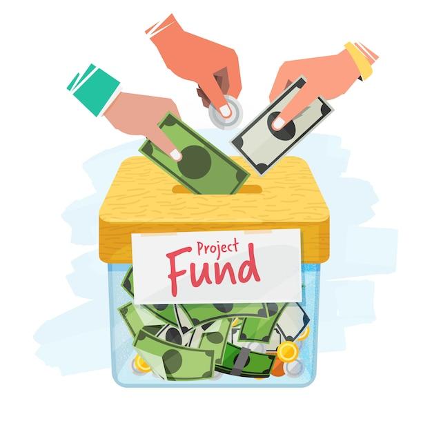 Concept de crowdfunding Vecteur Premium