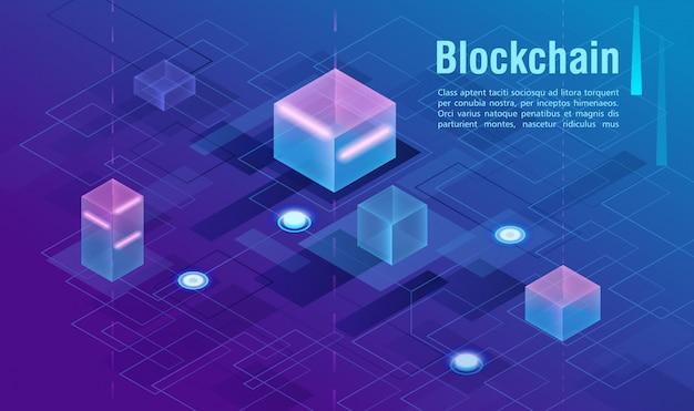 Concept De Crypto-monnaie Et De Blockchain, Centre De Données, Illustration Isométrique De Stockage De Données Dans Le Cloud. Web, Bannière De Présentation. Vecteur Premium