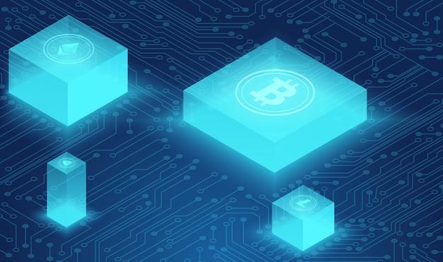 Concept De Crypto-monnaie Et De Blockchain, Réseau De Neurones, Centre Alimenté Par Les Données, Illustration Isométrique De Stockage De Données Dans Le Cloud. Web, Bannière De Présentation. Vecteur Premium