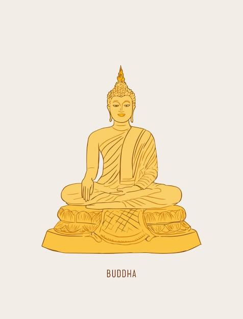 Concept de culture thaïlandaise avec bouddha et vase de lotus Vecteur Premium