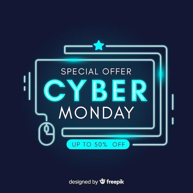 Concept de cyber lundi avec design néon Vecteur gratuit
