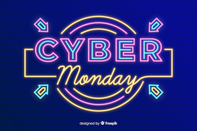 Concept de cyber lundi avec fond de néon Vecteur gratuit