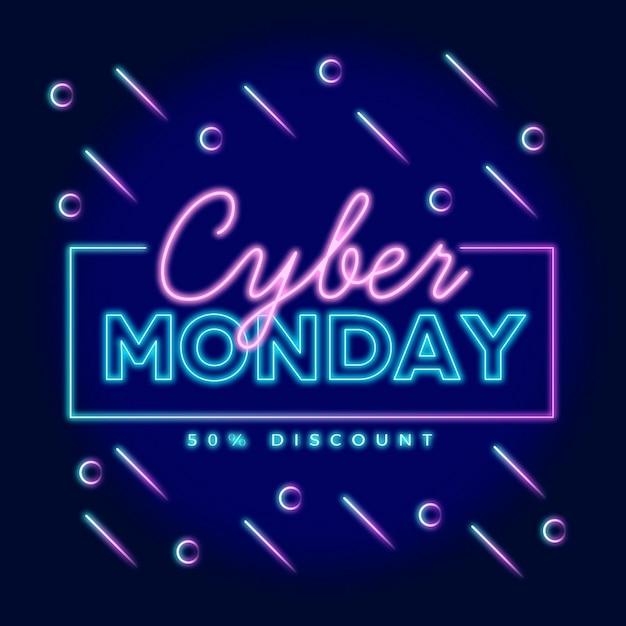 Concept De Cyber Lundi Néon Vecteur Premium