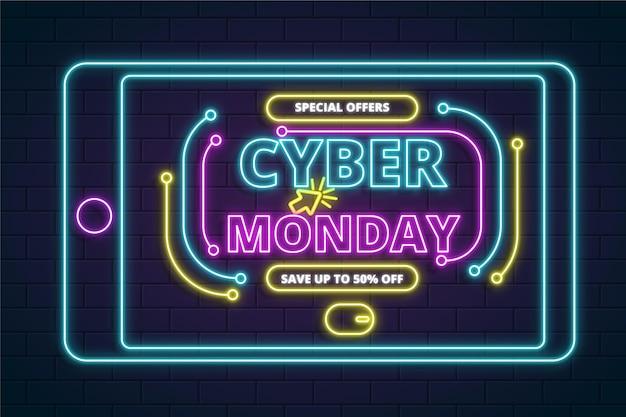 Concept De Cyber Lundi Néon Vecteur gratuit
