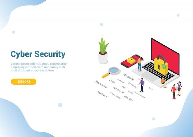 Concept de cybersécurité isométrique pour la page d'accueil de modèle de site web Vecteur Premium