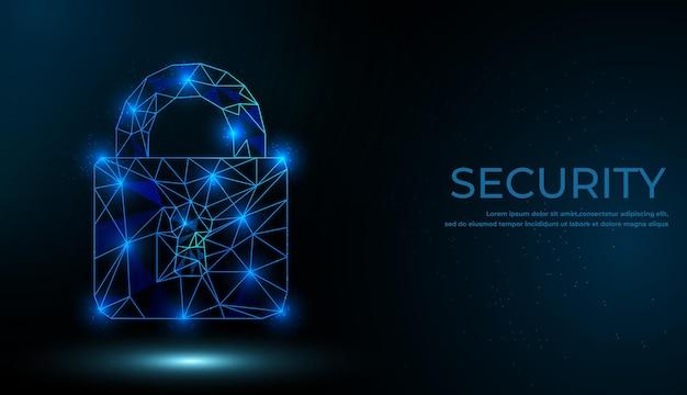 Concept De Cybersécurité. Verrouiller Le Symbole Des Lignes Et Des Triangles Vecteur Premium
