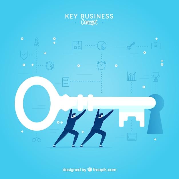 Concept d'entreprise clé avec un design plat Vecteur gratuit