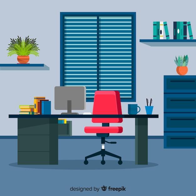 Concept d'espace de travail dans un style plat Vecteur gratuit