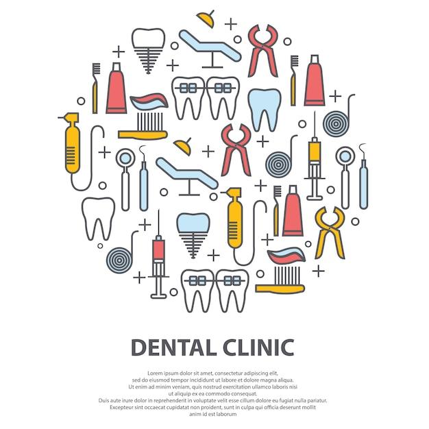Concept de dentiste en cercle avec des icônes de la fine ligne Vecteur Premium