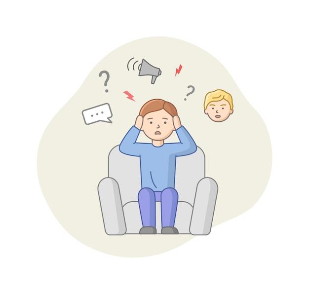 Concept De Dépression. Le Personnage Masculin Souffre De Dépression. Homme Perplexe Assis Dans Un Fauteuil Avec Beaucoup De Réflexion En Tête. Stress, Dissimulation Des émotions. Vecteur Premium