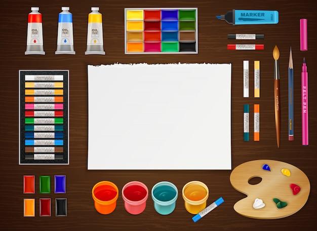 Concept de design artistique sur fond en bois Vecteur gratuit
