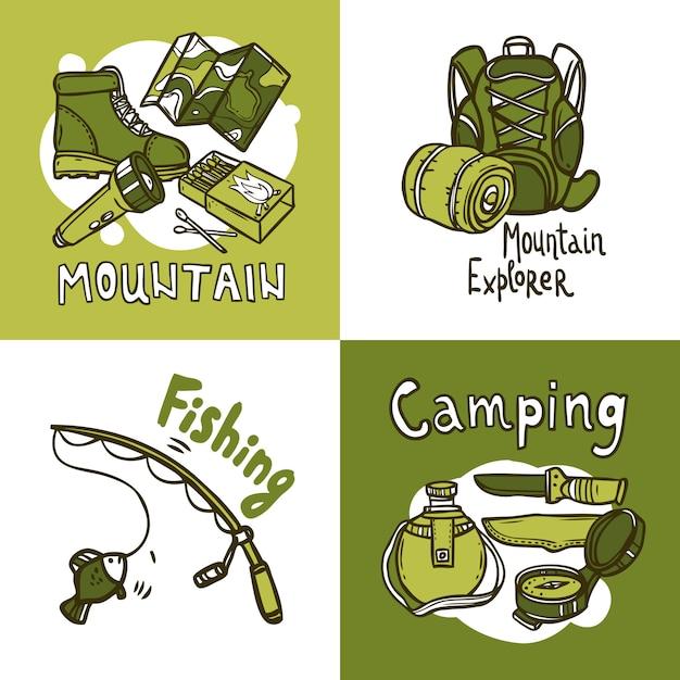 Concept de design de camping Vecteur gratuit