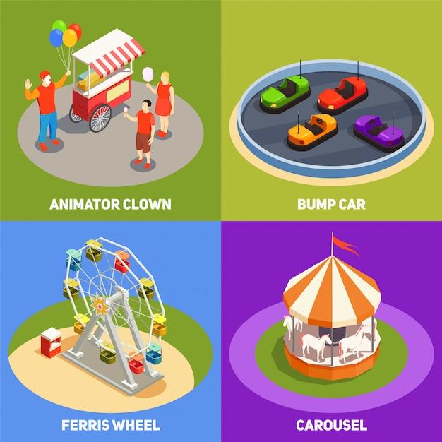 Concept De Design Coloré Isométrique 2x2 Avec Des Clowns Carrousel Bump Cartes Grande Roue Dans Le Parc D'attractions 3d Isolé Vecteur gratuit
