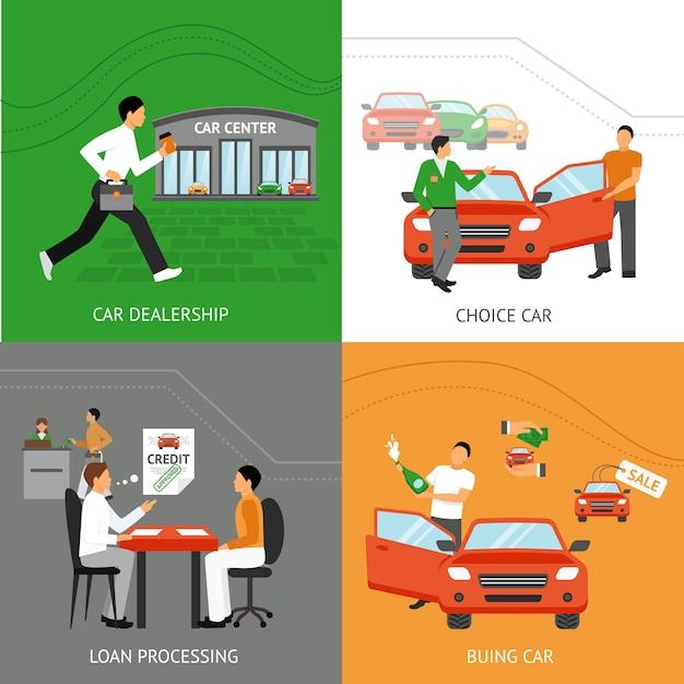 Concept de design de concession automobile Vecteur Premium