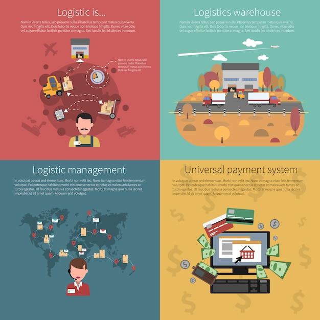 Concept de design défini pour la logistique Vecteur gratuit