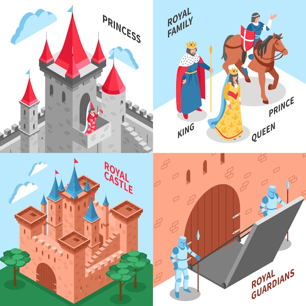 Concept de design du château royal Vecteur gratuit