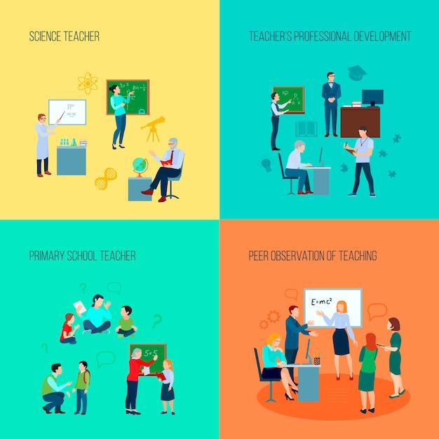 Concept de design enseignant 2x2 avec les enseignants de sciences et primaire et observation par les pairs de l'enseignement illustration vectorielle plane Vecteur Premium