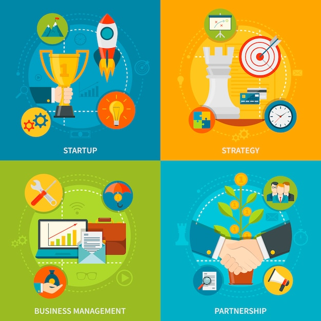 Concept De Design De L'entrepreneuriat 2x2 Vecteur gratuit