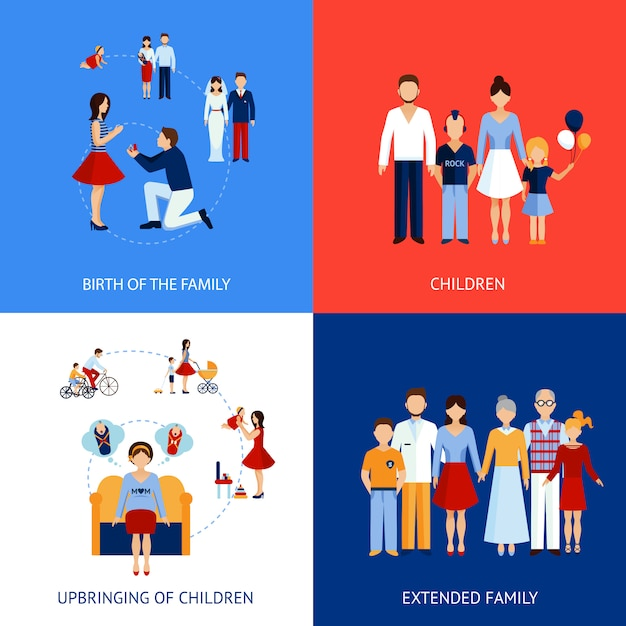Concept de design familial Vecteur gratuit