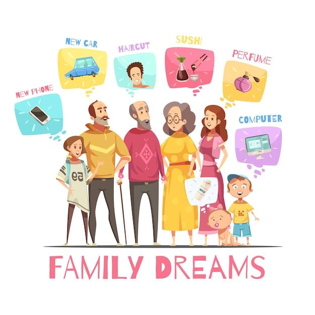 Concept de design de famille avec des icônes de grands membres de la famille et leurs rêves images décoratives illustration de dessin animé plat Vecteur gratuit