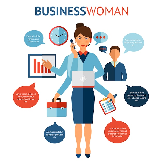 Concept de design de femme d'affaires Vecteur gratuit