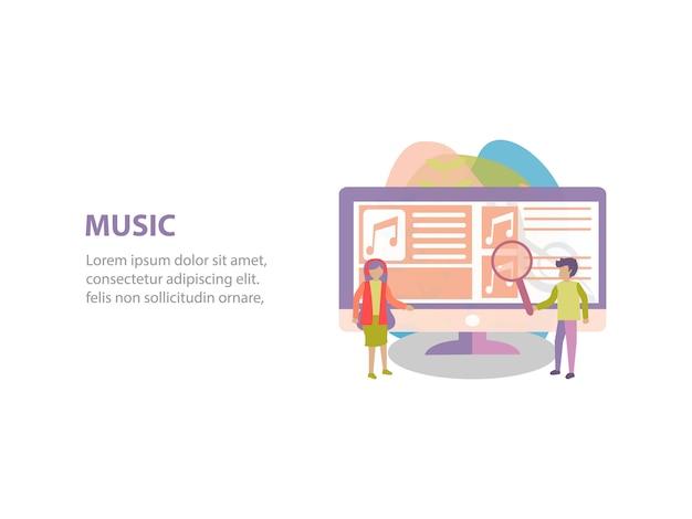 Concept de design de fond de streaming en ligne Vecteur Premium