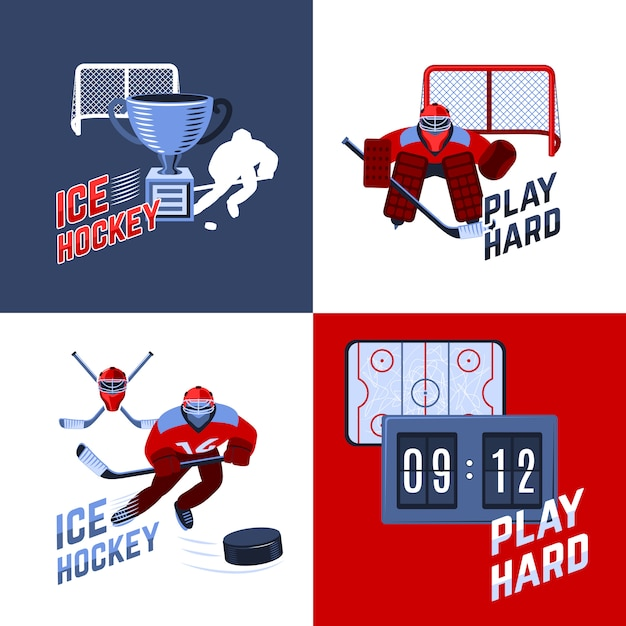 Concept De Design De Hockey Vecteur gratuit