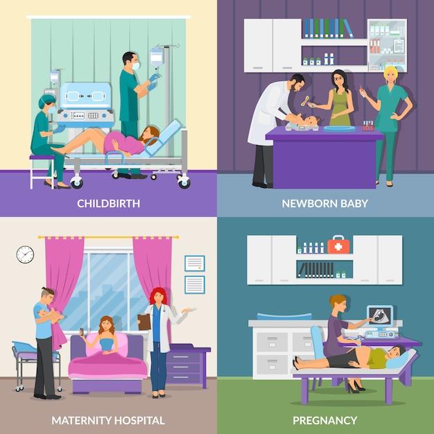 Concept de design de l'hôpital de maternité 2x2 Vecteur gratuit