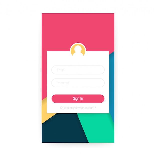 Concept de design d'interface utilisateur mobile propre Vecteur Premium
