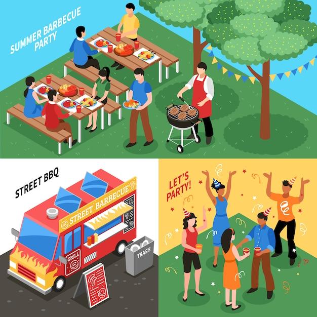 Concept de design isométrique de barbecue Vecteur gratuit