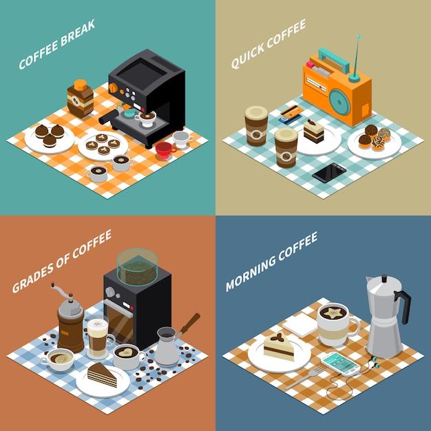 Concept de design isométrique de café Vecteur gratuit