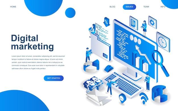 Concept de design isométrique moderne du marketing numérique Vecteur Premium
