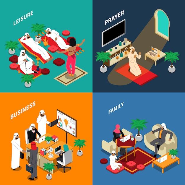 Concept de design isométrique de peuple arabe lifestyle Vecteur gratuit